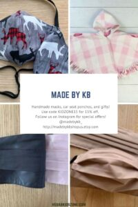 Handmade masks, ponchos and baby clothes