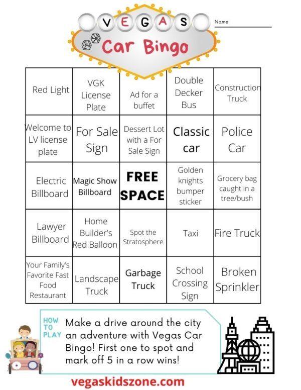 Vegas Car Bingo